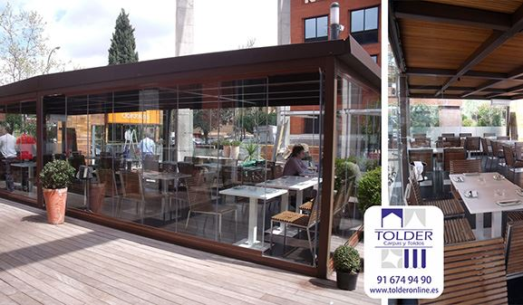 Pérgola acristalada para la terraza deL Bar Restaurante Lateral Arturo Soria, Madrid.