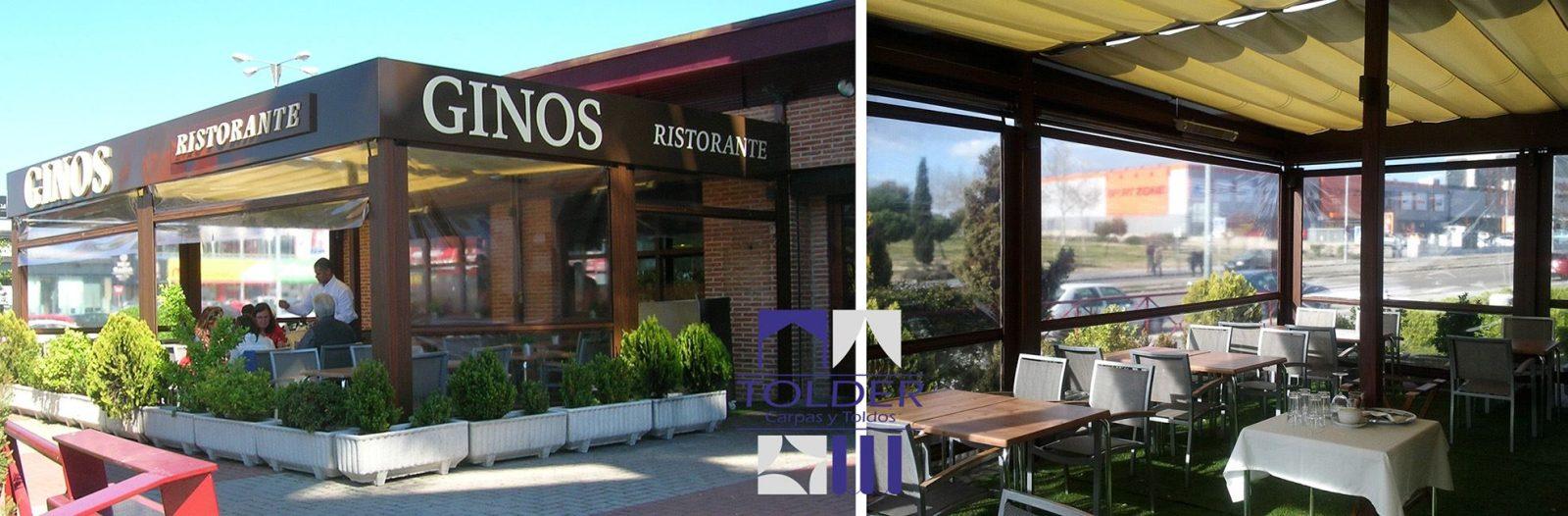 Restaurante Ginos de la cadena VISP, (pérgola instalada por Tolder en Parque Oeste de Madrid
